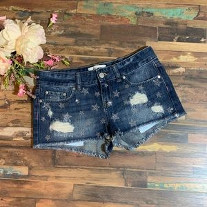 VS PINK | NWOT Star Studded Distressed Jean Shorts